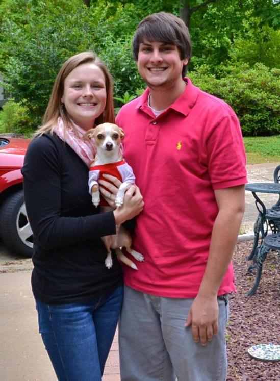 Tyler Marovich and his girlfriend, Mitzi Berry and their dog.